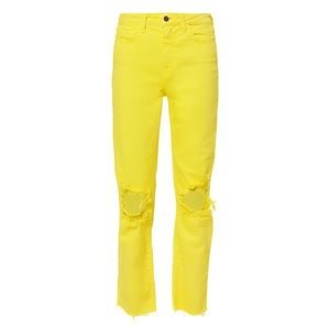 L'agence Audrina Neon Yellow Distressed Jeans